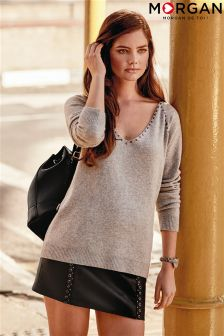 Morgan Slouchy Boyfriend Studded V neck Sweater