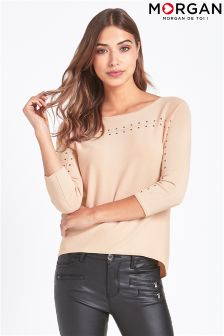 Morgan Long Sleece Studded Top