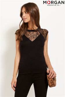 Morgan Lace V neck T-Shirt