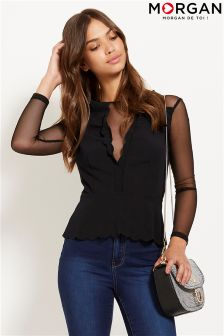 Morgan Scallop V neck Blouse