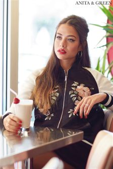 Anita & Green Floral Embroidered Sateen Bomber Jacket