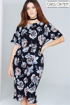 Girls On Film Curve Floral Print Shift Dress