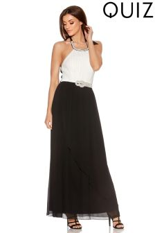 Quiz Chiffon Pleated Bust Halter Neck Maxi Dress