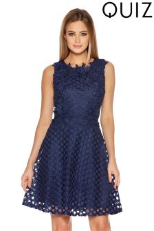 Quiz Cut Out Detail Lace Trim Skater Dress