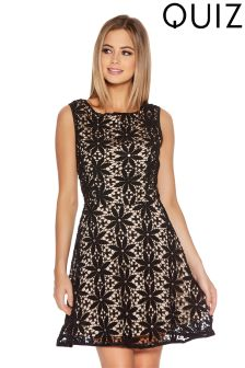 Quiz Diamante Detail Skater Dress