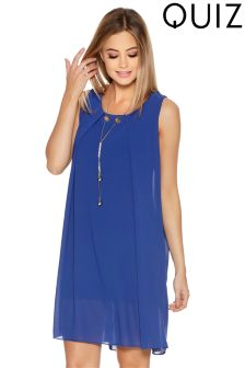 Quiz Chiffon Fold Front Necklace Tunic Dress