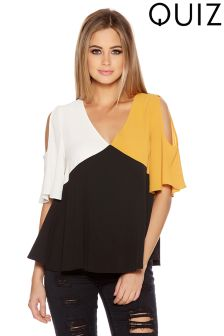 Quiz Cold Shoulder Colour Block Swing Top