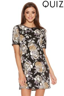 Quiz Crepe Floral Cap Sleeve Tunic Dress