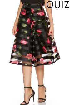 Quiz Mesh Floral Burn Out Full Skirt