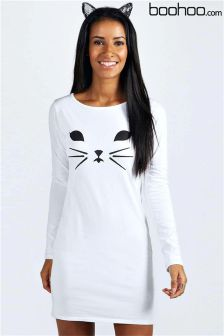 Boohoo Halloween Cat Face Bodycon Dress