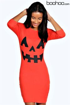 Boohoo Pumpkin Print Halloween Bodycon Dress