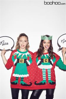 Boohoo Mr & Mrs Elf 2 Person Christmas Jumper