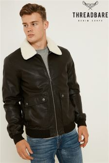 Threadbare PU Bomber Jacket