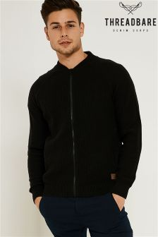 Threadbare Zip Thru Knitwear Baseball Style Cardigan