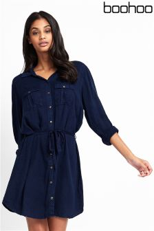 Boohoo Tie Waist Denim Shirt Dress