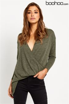 Boohoo Wrap Over Jumper