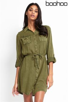 Boohoo Khaki Military Shirt Dress