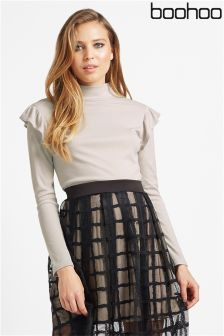 Boohoo Frill Shoulder Turtle Neck Jumper