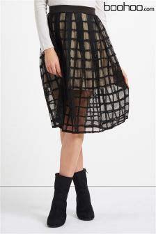Boohoo Grid Full Midi Skirt