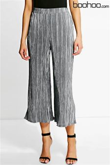 Boohoo Metallic Pleated Cullotes