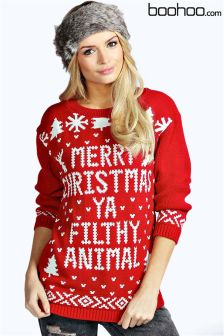 Boohoo Merry Christmas Filthy Animal Jumper