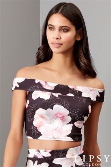 Lipsy Floral Co-ord Bardot Crop Top