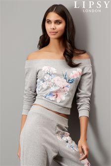 Lipsy Floral Bardot Sweater Top