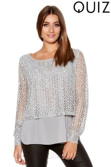 Quiz Sequin Knit Crop Chiffon Hem Jumper