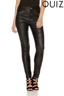 Quiz Pu Gold Zip Skinny Trousers