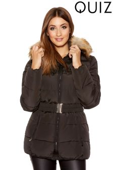 Quiz Padded Fur Hood Zip Detail Belted Jacket