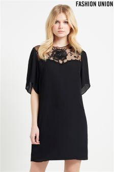 Fashion Union Sheer Embroidered Shift Dress