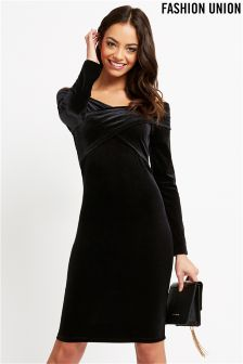 Fashion Union Wrap Front Bodycon Dress