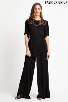 Fashion Union Sheer Embroidery Jumpsuit