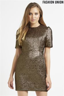 Fashion Union Crinkle Metallic Dress