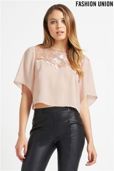 Fashion Union Sheer Embroidered Top