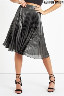 Fashion Union Metallic Pleated Skirt