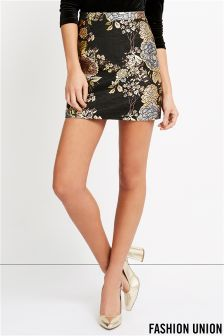 Fashion Union Floral Jacquard Mini Skirt