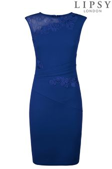 Lipsy Curve Asymmetric Lace Trim Bodycon Dress