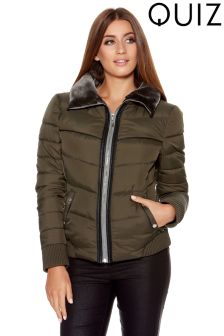Quiz Padded Fur Collar Short Jacket
