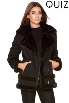 Quiz Suedette Faux Fur Lined Biker Jacket
