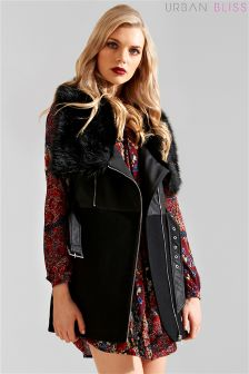 Urban Bliss Fur Collar Wool PU Mix Jacket