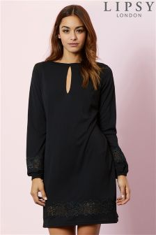Lipsy Lace Insert Long Sleeve Dress