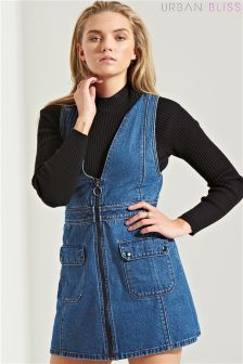 Urban Bliss Denim Apron Dress With Belt