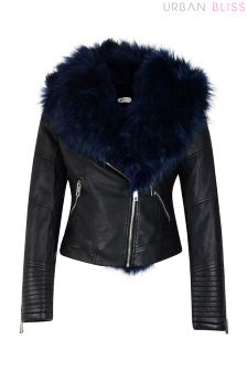Urban Bliss Fur Collar Biker Jacket
