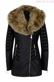 Urban Bliss Fur Mesh PU Jacket