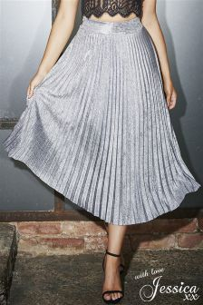 Jessica Wright Metallic Pleated Skirt
