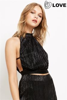 Love Pleated Lurex Tie Back Top