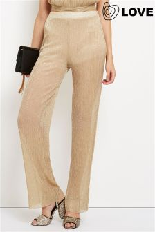 Love Pleated Lurex Metallic Trousers