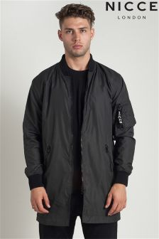 Nicce Longline Slim Fit Bomber Jacket