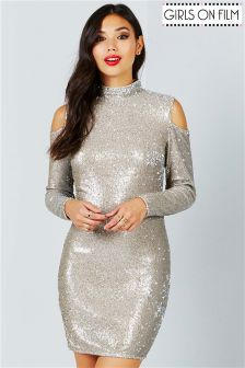 Girls On Film Sequin Cold Shoulder Bodycon Dress